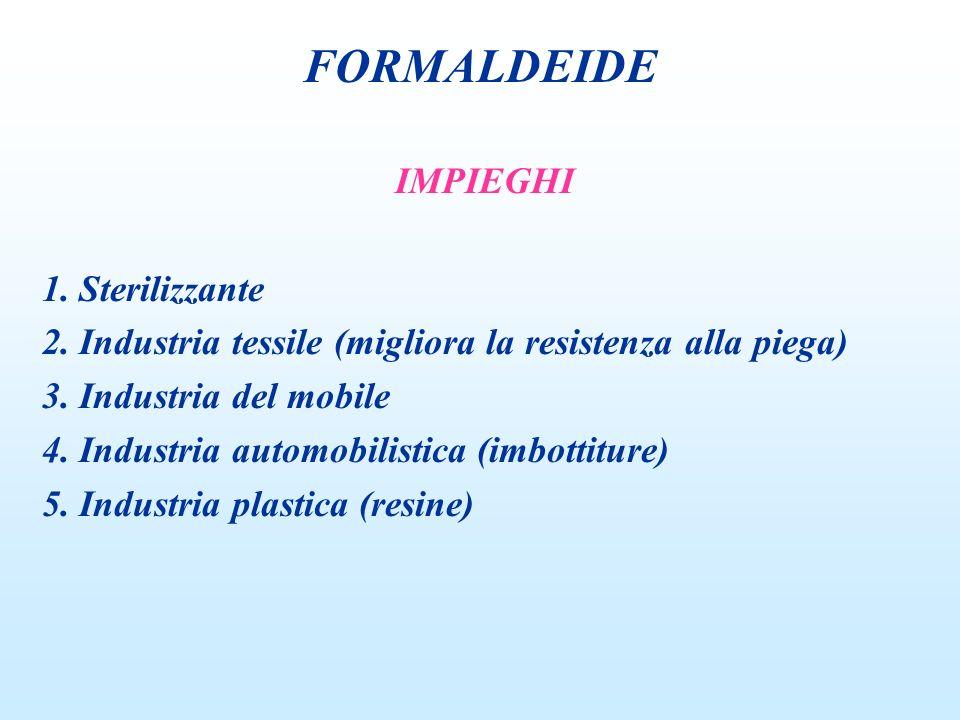 IMPIEGHI 1. Sterilizzante 2. Industria tessile (migliora la resistenza alla piega) 3. Industria del mobile 4. Industria automobilistica (imbottiture)