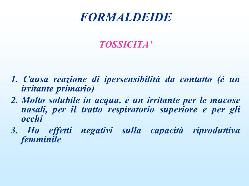 TOSSICITA 1. Causa reazione di ipersensibilità da contatto (è un irritante primario) 2. Molto solubile in acqua, è un irritante per le mucose nasali,