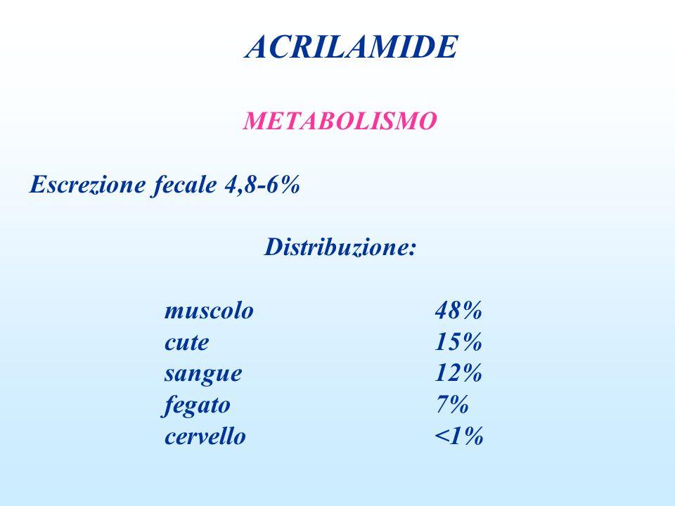METABOLISMO Escrezione fecale 4,8-6% Distribuzione: muscolo48% cute15% sangue12% fegato7% cervello<1% ACRILAMIDE