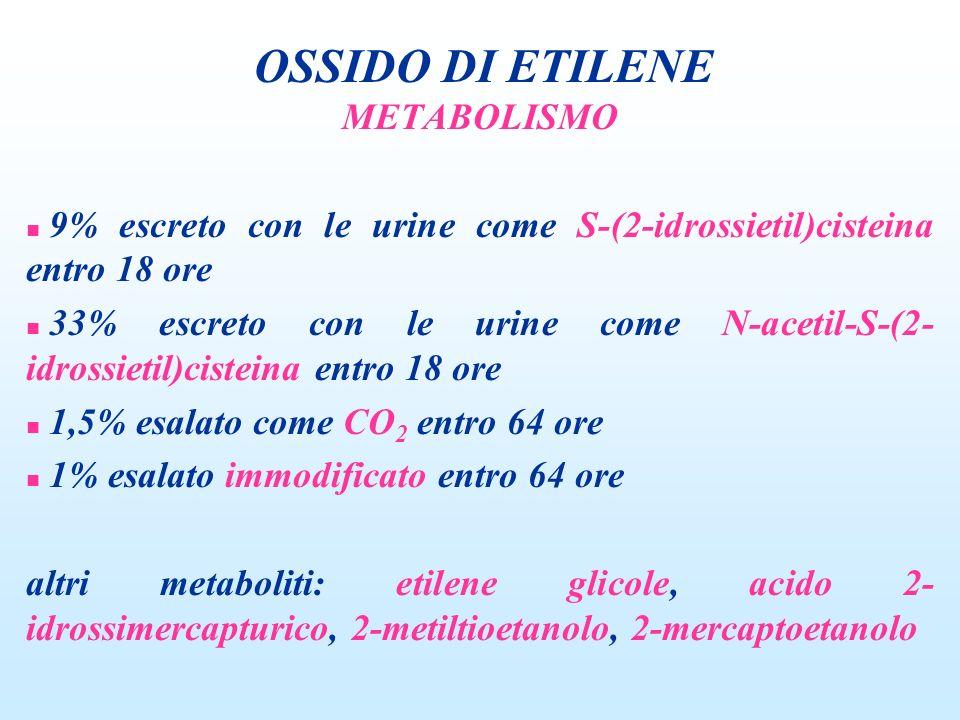 METABOLISMO n 9% escreto con le urine come S-(2-idrossietil)cisteina entro 18 ore n 33% escreto con le urine come N-acetil-S-(2- idrossietil)cisteina