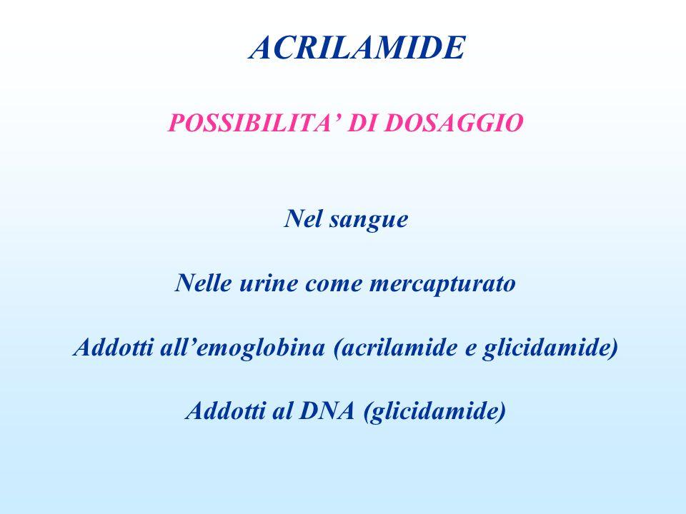 POSSIBILITA DI DOSAGGIO Nel sangue Nelle urine come mercapturato Addotti allemoglobina (acrilamide e glicidamide) Addotti al DNA (glicidamide) ACRILAM