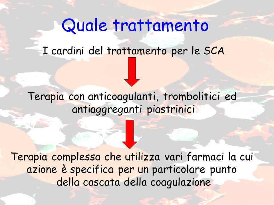 Quale trattamento I cardini del trattamento per le SCA Terapia con anticoagulanti, trombolitici ed antiaggreganti piastrinici Terapia complessa che ut