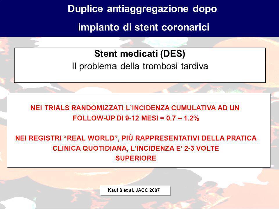 Stent medicati (DES) Il problema della trombosi tardiva Duplice antiaggregazione dopo impianto di stent coronarici NEI TRIALS RANDOMIZZATI LINCIDENZA