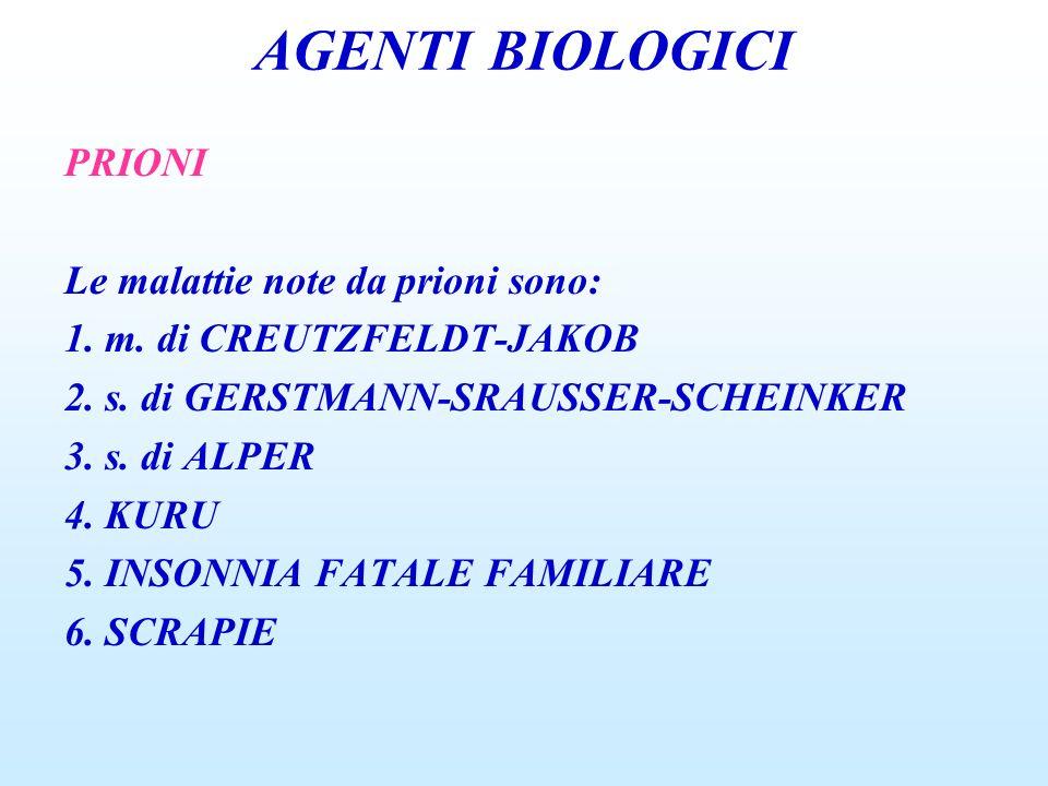AGENTI BIOLOGICI PRIONI Le malattie note da prioni sono: 1. m. di CREUTZFELDT-JAKOB 2. s. di GERSTMANN-SRAUSSER-SCHEINKER 3. s. di ALPER 4. KURU 5. IN