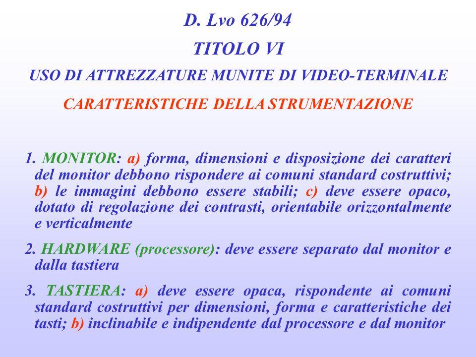 D. Lvo 626/94 TITOLO VI USO DI ATTREZZATURE MUNITE DI VIDEO-TERMINALE FATTORI DI RISCHIO 3. PER LORGANIZZAZIONE DEL LAVORO a) caratteristiche del comp