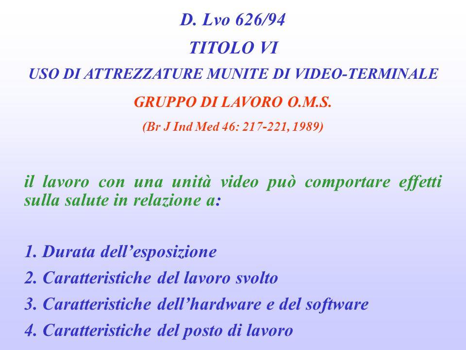 D. Lvo 626/94 TITOLO VI USO DI ATTREZZATURE MUNITE DI VIDEO-TERMINALE CARATTERISTICHE DELLAMBIENTE DI LAVORO 1. Le finestre debbono essere dotate di t