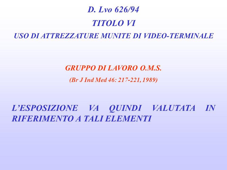 D. Lvo 626/94 TITOLO VI USO DI ATTREZZATURE MUNITE DI VIDEO-TERMINALE GRUPPO DI LAVORO O.M.S. (Br J Ind Med 46: 217-221, 1989) il lavoro con una unità