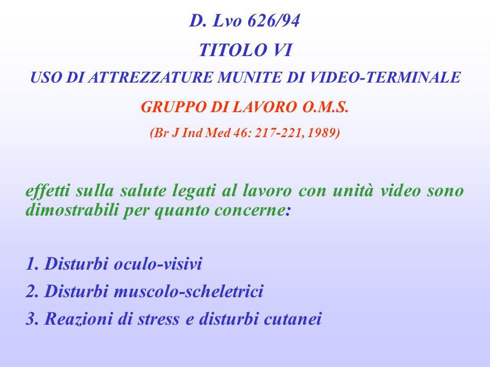 D. Lvo 626/94 TITOLO VI USO DI ATTREZZATURE MUNITE DI VIDEO-TERMINALE GRUPPO DI LAVORO O.M.S. (Br J Ind Med 46: 217-221, 1989) LESPOSIZIONE VA QUINDI