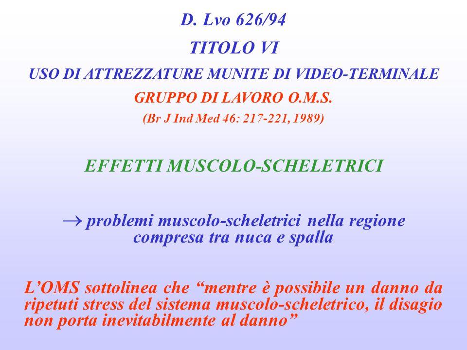 D. Lvo 626/94 TITOLO VI USO DI ATTREZZATURE MUNITE DI VIDEO-TERMINALE GRUPPO DI LAVORO O.M.S. (Br J Ind Med 46: 217-221, 1989) EFFETTI SUGLI OCCHI E L