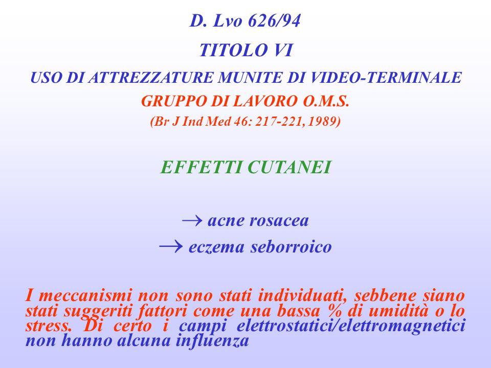 D. Lvo 626/94 TITOLO VI USO DI ATTREZZATURE MUNITE DI VIDEO-TERMINALE GRUPPO DI LAVORO O.M.S. (Br J Ind Med 46: 217-221, 1989) EFFETTI MUSCOLO-SCHELET