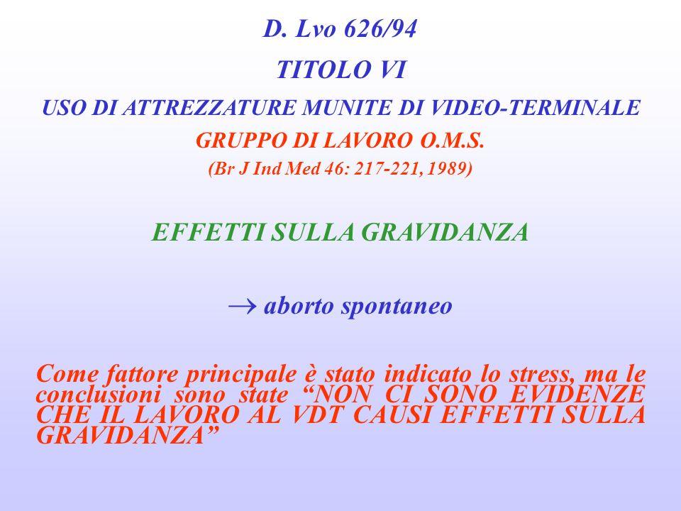 D. Lvo 626/94 TITOLO VI USO DI ATTREZZATURE MUNITE DI VIDEO-TERMINALE GRUPPO DI LAVORO O.M.S. (Br J Ind Med 46: 217-221, 1989) EFFETTI CUTANEI acne ro
