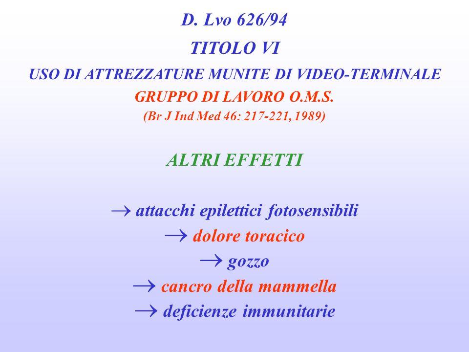 D. Lvo 626/94 TITOLO VI USO DI ATTREZZATURE MUNITE DI VIDEO-TERMINALE GRUPPO DI LAVORO O.M.S. (Br J Ind Med 46: 217-221, 1989) EFFETTI SULLA GRAVIDANZ