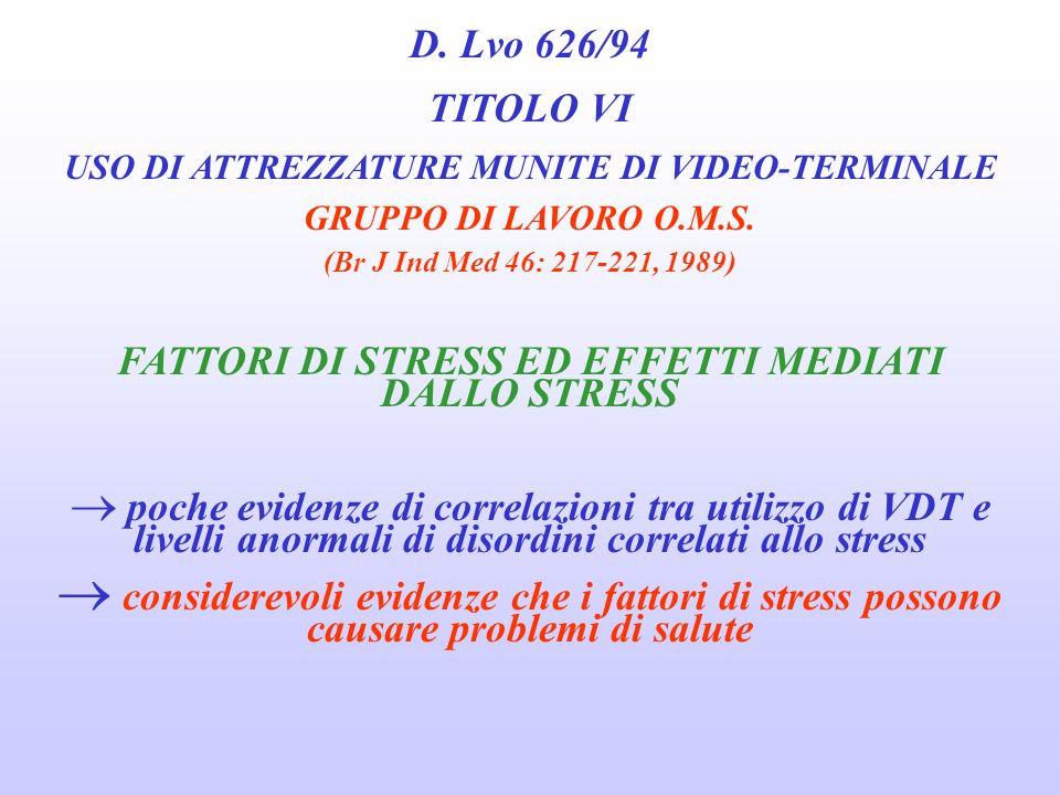 D. Lvo 626/94 TITOLO VI USO DI ATTREZZATURE MUNITE DI VIDEO-TERMINALE GRUPPO DI LAVORO O.M.S. (Br J Ind Med 46: 217-221, 1989) ALTRI EFFETTI attacchi