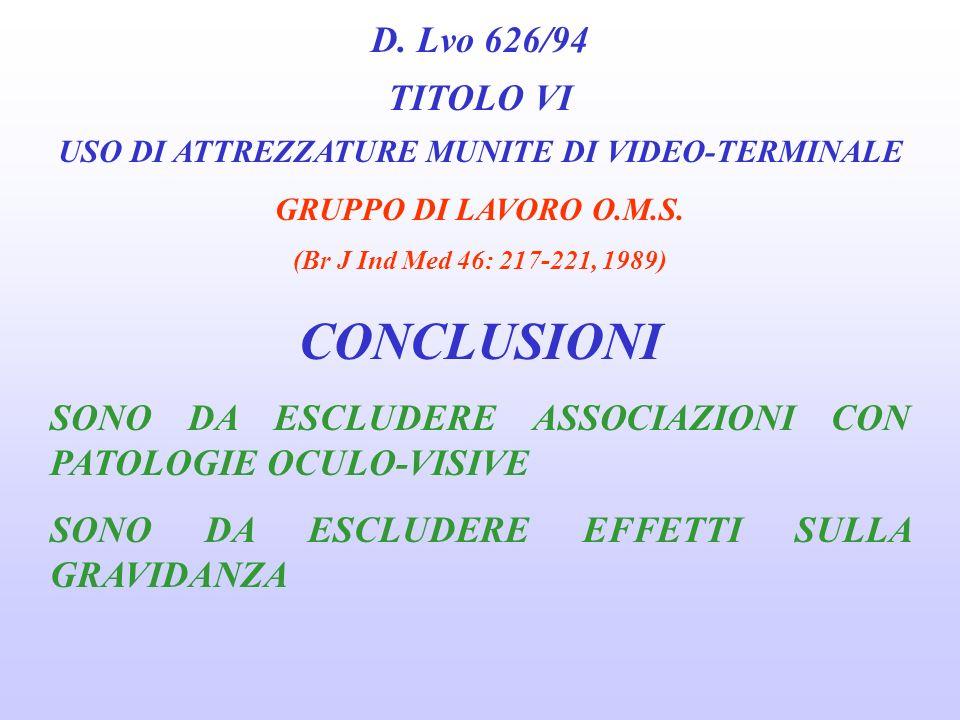 D. Lvo 626/94 TITOLO VI USO DI ATTREZZATURE MUNITE DI VIDEO-TERMINALE GRUPPO DI LAVORO O.M.S. (Br J Ind Med 46: 217-221, 1989) FATTORI DI STRESS ED EF