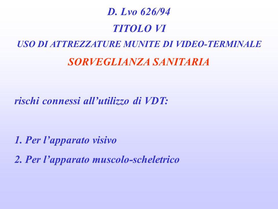 D. Lvo 626/94 TITOLO VI USO DI ATTREZZATURE MUNITE DI VIDEO-TERMINALE SORVEGLIANZA SANITARIA 1. Prima che loperatore sia adibito alluso di apparecchia