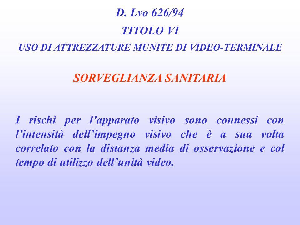 D. Lvo 626/94 TITOLO VI USO DI ATTREZZATURE MUNITE DI VIDEO-TERMINALE SORVEGLIANZA SANITARIA rischi connessi allutilizzo di VDT: 1. Per lapparato visi