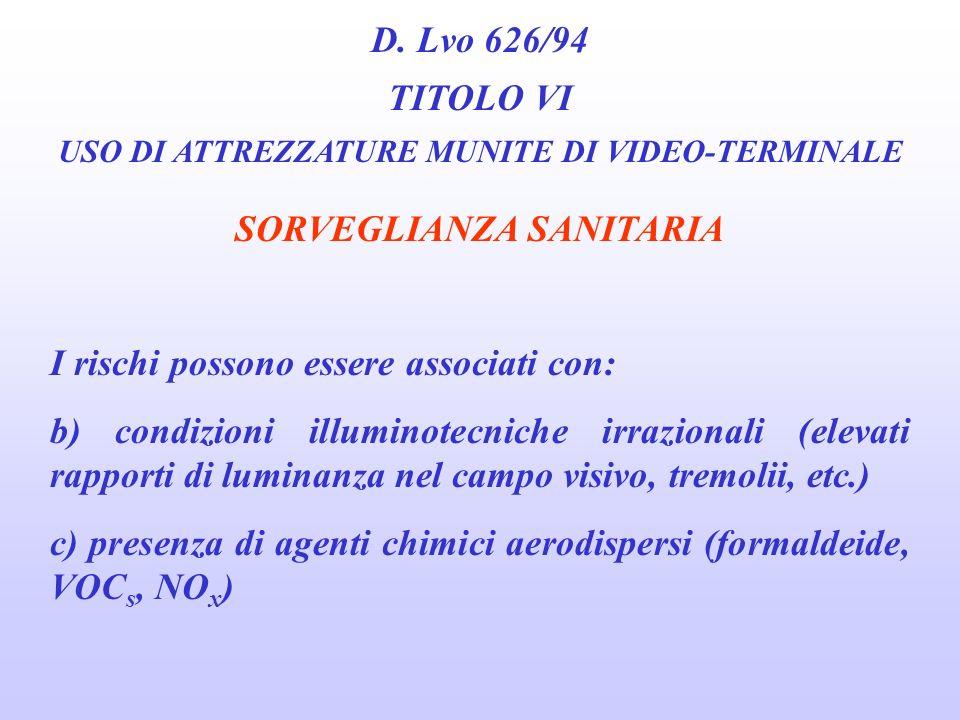 D. Lvo 626/94 TITOLO VI USO DI ATTREZZATURE MUNITE DI VIDEO-TERMINALE SORVEGLIANZA SANITARIA I rischi possono essere associati con: a) alterazioni ind