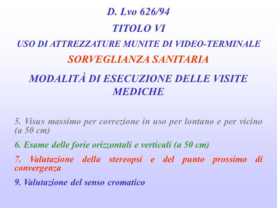 D. Lvo 626/94 TITOLO VI USO DI ATTREZZATURE MUNITE DI VIDEO-TERMINALE SORVEGLIANZA SANITARIA MODALITÀ DI ESECUZIONE DELLE VISITE MEDICHE 1. Anamnesi e