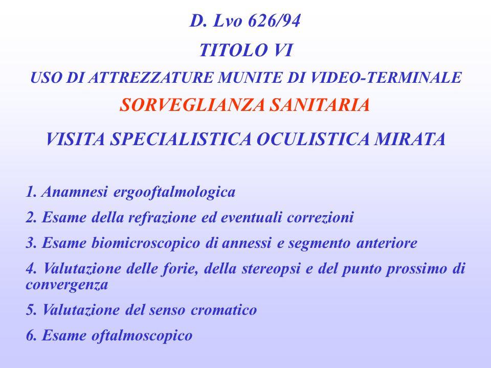 D. Lvo 626/94 TITOLO VI USO DI ATTREZZATURE MUNITE DI VIDEO-TERMINALE SORVEGLIANZA SANITARIA MODALITÀ DI ESECUZIONE DELLE VISITE MEDICHE 5. Visus mass