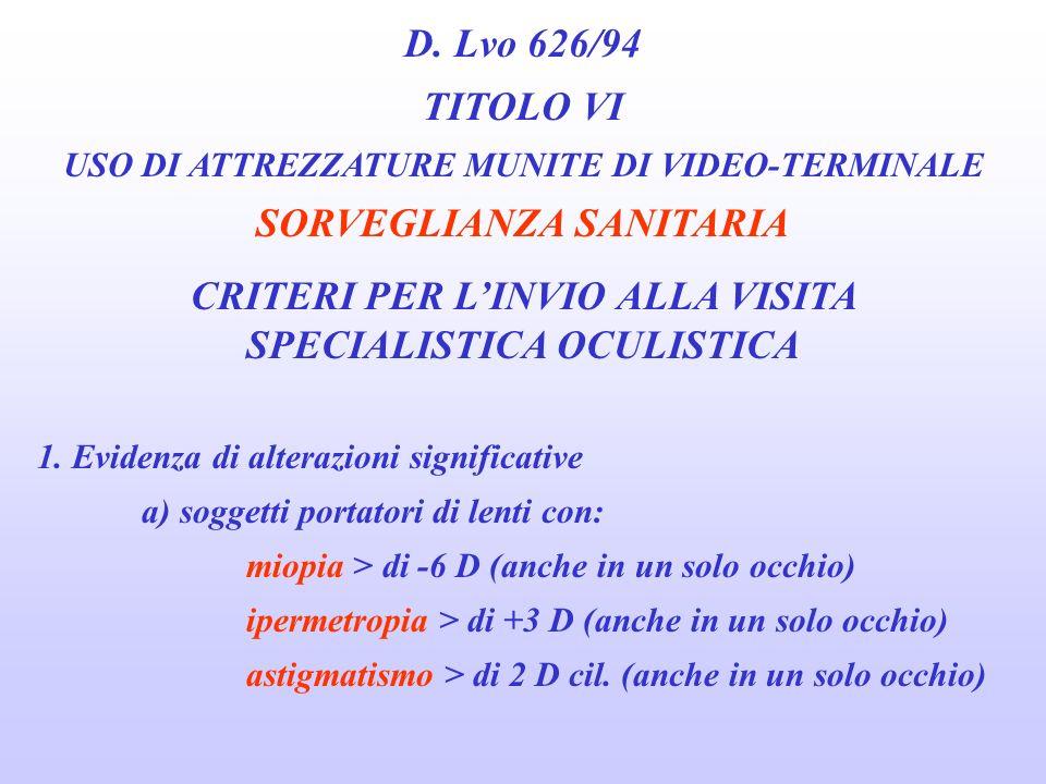 D. Lvo 626/94 TITOLO VI USO DI ATTREZZATURE MUNITE DI VIDEO-TERMINALE SORVEGLIANZA SANITARIA VISITA SPECIALISTICA OCULISTICA MIRATA Ulteriori accertam