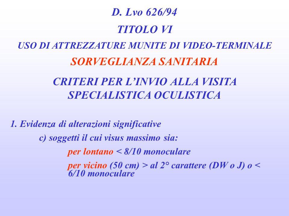 D. Lvo 626/94 TITOLO VI USO DI ATTREZZATURE MUNITE DI VIDEO-TERMINALE SORVEGLIANZA SANITARIA CRITERI PER LINVIO ALLA VISITA SPECIALISTICA OCULISTICA 1