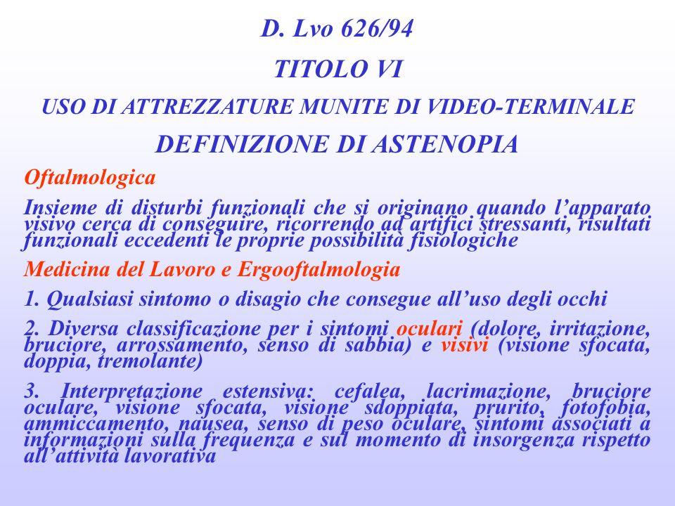 D. Lvo 626/94 TITOLO VI USO DI ATTREZZATURE MUNITE DI VIDEO-TERMINALE SORVEGLIANZA SANITARIA CRITERI PER LINVIO ALLA VISITA SPECIALISTICA OCULISTICA 2