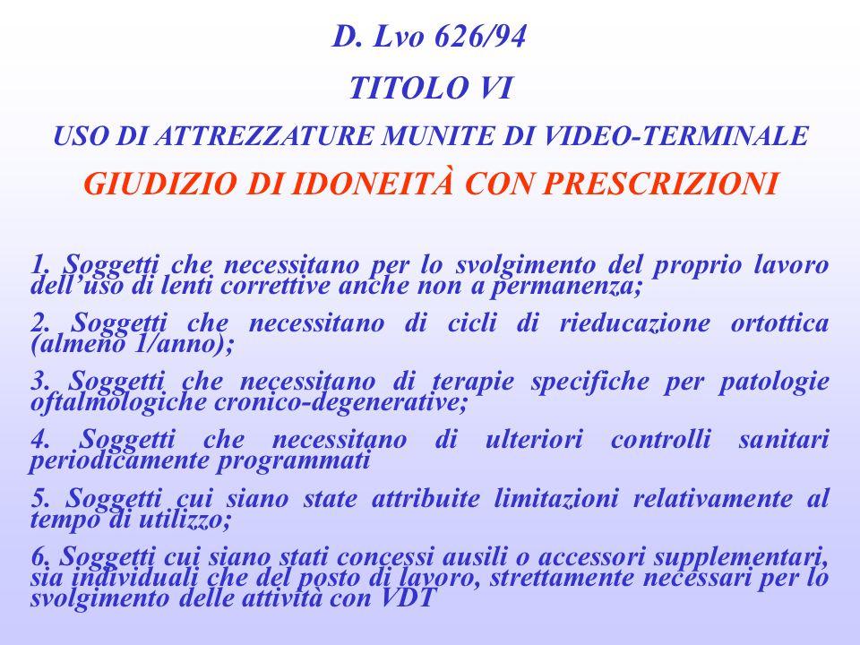 D. Lvo 626/94 TITOLO VI USO DI ATTREZZATURE MUNITE DI VIDEO-TERMINALE DEFINIZIONE DI ASTENOPIA Oftalmologica Insieme di disturbi funzionali che si ori