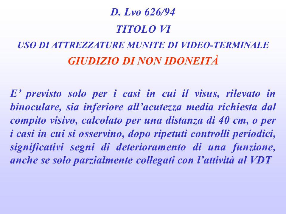 D. Lvo 626/94 TITOLO VI USO DI ATTREZZATURE MUNITE DI VIDEO-TERMINALE GIUDIZIO DI IDONEITÀ CON PRESCRIZIONI 1. Soggetti che necessitano per lo svolgim