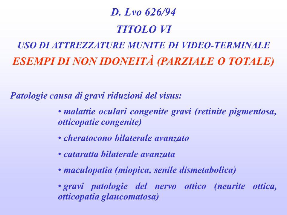 D. Lvo 626/94 TITOLO VI USO DI ATTREZZATURE MUNITE DI VIDEO-TERMINALE GIUDIZIO DI NON IDONEITÀ E previsto solo per i casi in cui il visus, rilevato in