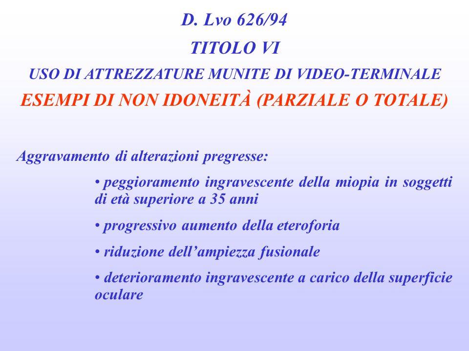 D. Lvo 626/94 TITOLO VI USO DI ATTREZZATURE MUNITE DI VIDEO-TERMINALE ESEMPI DI NON IDONEITÀ (PARZIALE O TOTALE) Patologie causa di gravi alterazioni