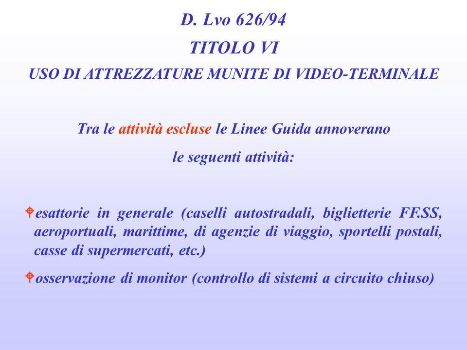 D. Lvo 626/94 TITOLO VI USO DI ATTREZZATURE MUNITE DI VIDEO-TERMINALE Tra le attività incluse le Linee Guida annoverano le seguenti attività: Wradaris