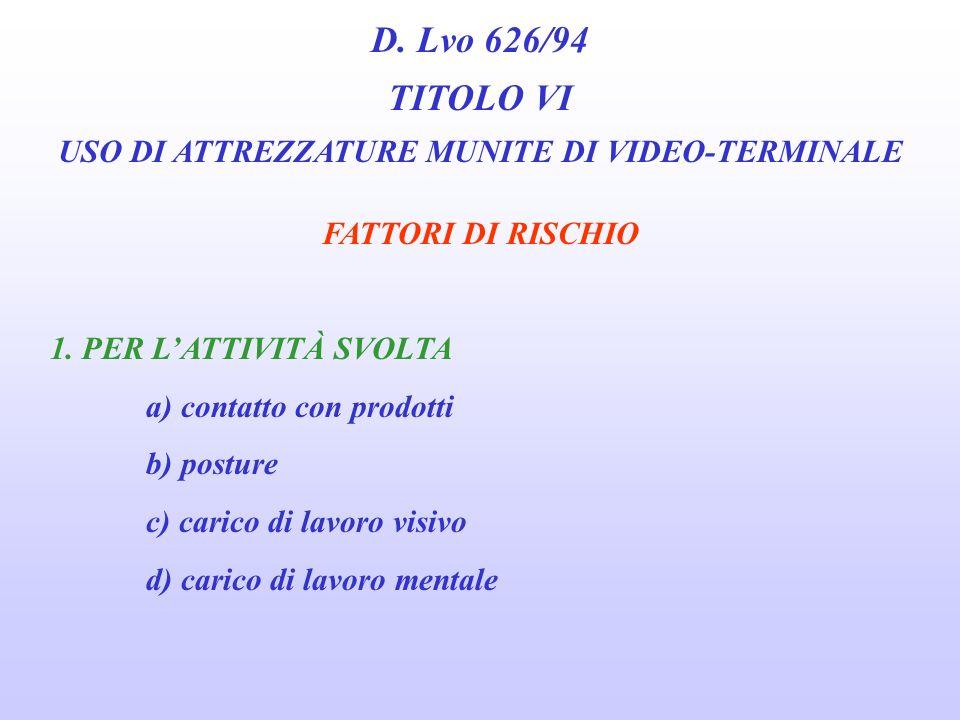 D. Lvo 626/94 TITOLO VI USO DI ATTREZZATURE MUNITE DI VIDEO-TERMINALE Tra le attività escluse le Linee Guida annoverano le seguenti attività: Wesattor