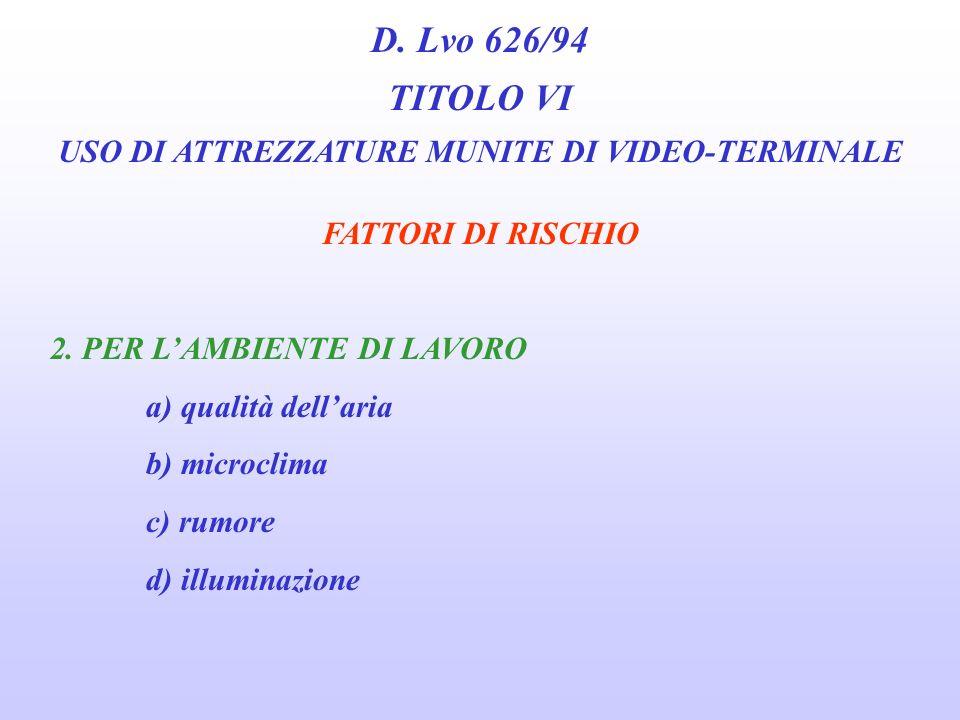D. Lvo 626/94 TITOLO VI USO DI ATTREZZATURE MUNITE DI VIDEO-TERMINALE FATTORI DI RISCHIO 1. PER LATTIVITÀ SVOLTA a) contatto con prodotti b) posture c