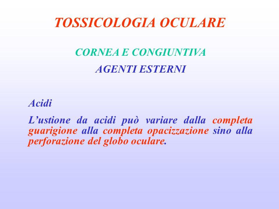 TOSSICOLOGIA OCULARE CORNEA E CONGIUNTIVA AGENTI ESTERNI Acidi Lustione da acidi può variare dalla completa guarigione alla completa opacizzazione sino alla perforazione del globo oculare.