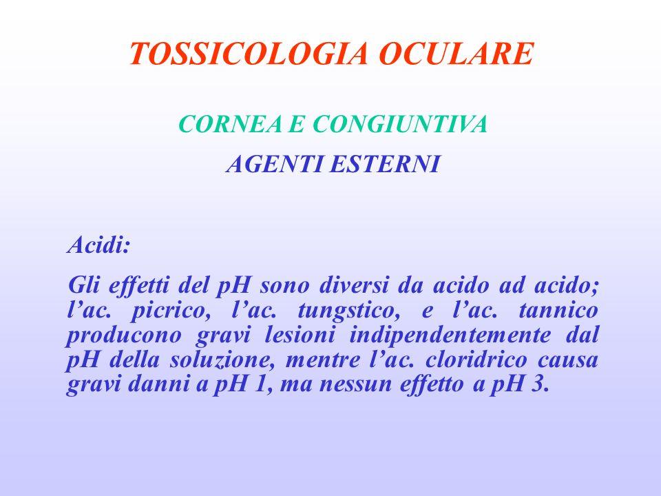 TOSSICOLOGIA OCULARE CORNEA E CONGIUNTIVA AGENTI ESTERNI Acidi: Gli effetti del pH sono diversi da acido ad acido; lac.