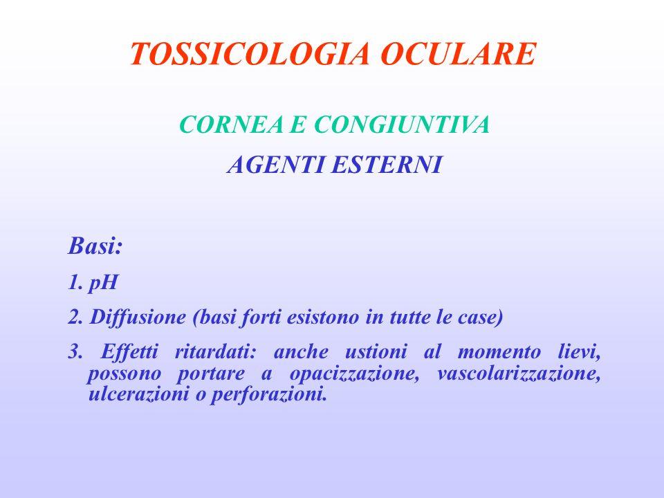 TOSSICOLOGIA OCULARE CORNEA E CONGIUNTIVA AGENTI ESTERNI Basi: 1.