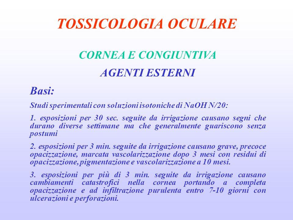 TOSSICOLOGIA OCULARE CORNEA E CONGIUNTIVA AGENTI ESTERNI Basi: Studi sperimentali con soluzioni isotoniche di NaOH N/20: 1.