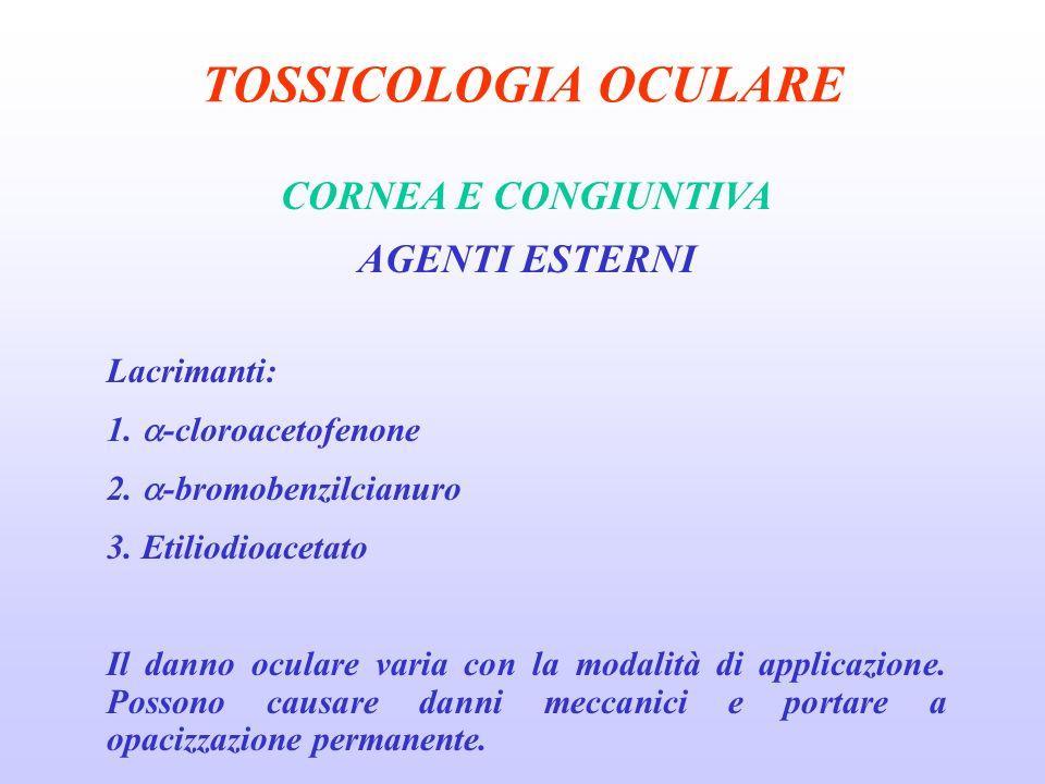 TOSSICOLOGIA OCULARE CORNEA E CONGIUNTIVA AGENTI ESTERNI Lacrimanti: 1.