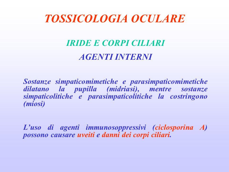TOSSICOLOGIA OCULARE IRIDE E CORPI CILIARI AGENTI INTERNI Sostanze simpaticomimetiche e parasimpaticomimetiche dilatano la pupilla (midriasi), mentre sostanze simpaticolitiche e parasimpaticolitiche la costringono (miosi) Luso di agenti immunosoppressivi (ciclosporina A) possono causare uveiti e danni dei corpi ciliari.