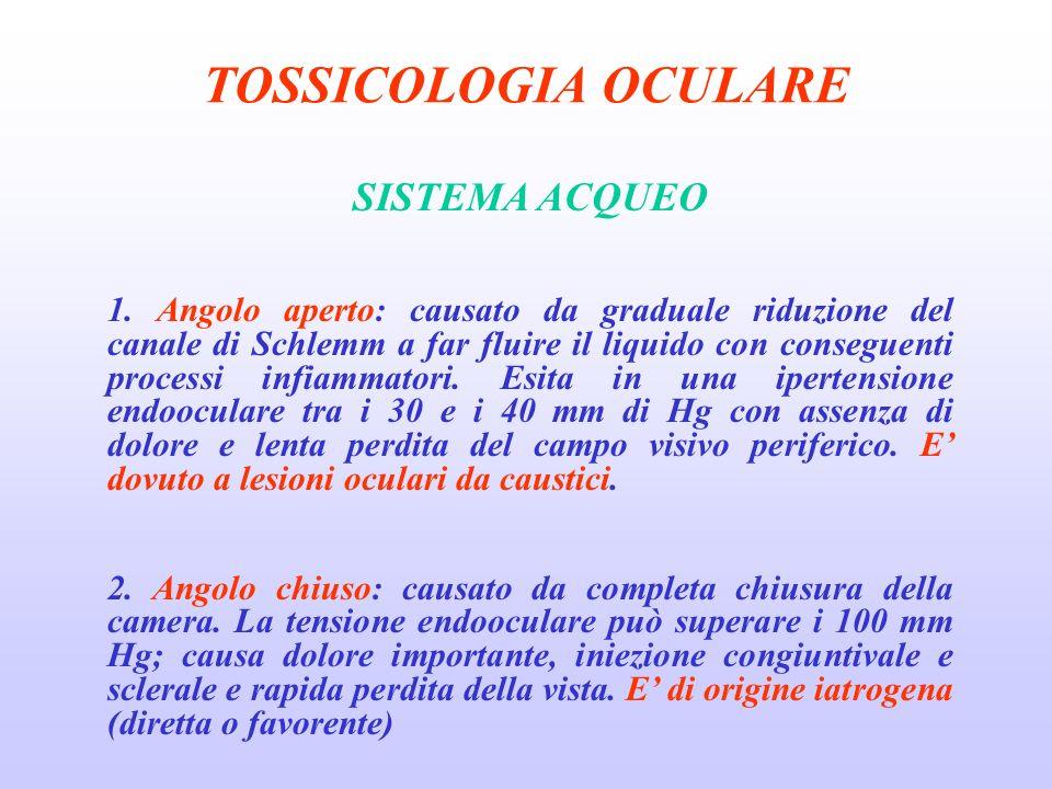 TOSSICOLOGIA OCULARE SISTEMA ACQUEO 1.