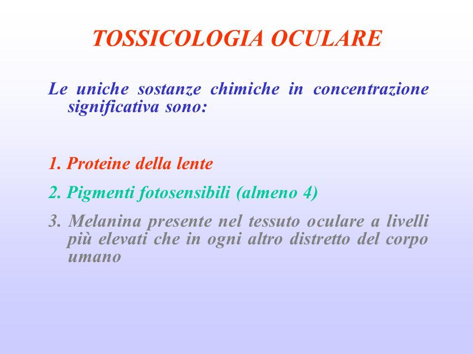 TOSSICOLOGIA OCULARE Le uniche sostanze chimiche in concentrazione significativa sono: 1.