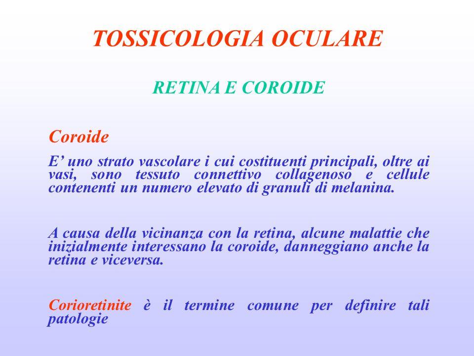 TOSSICOLOGIA OCULARE RETINA E COROIDE Coroide E uno strato vascolare i cui costituenti principali, oltre ai vasi, sono tessuto connettivo collagenoso e cellule contenenti un numero elevato di granuli di melanina.