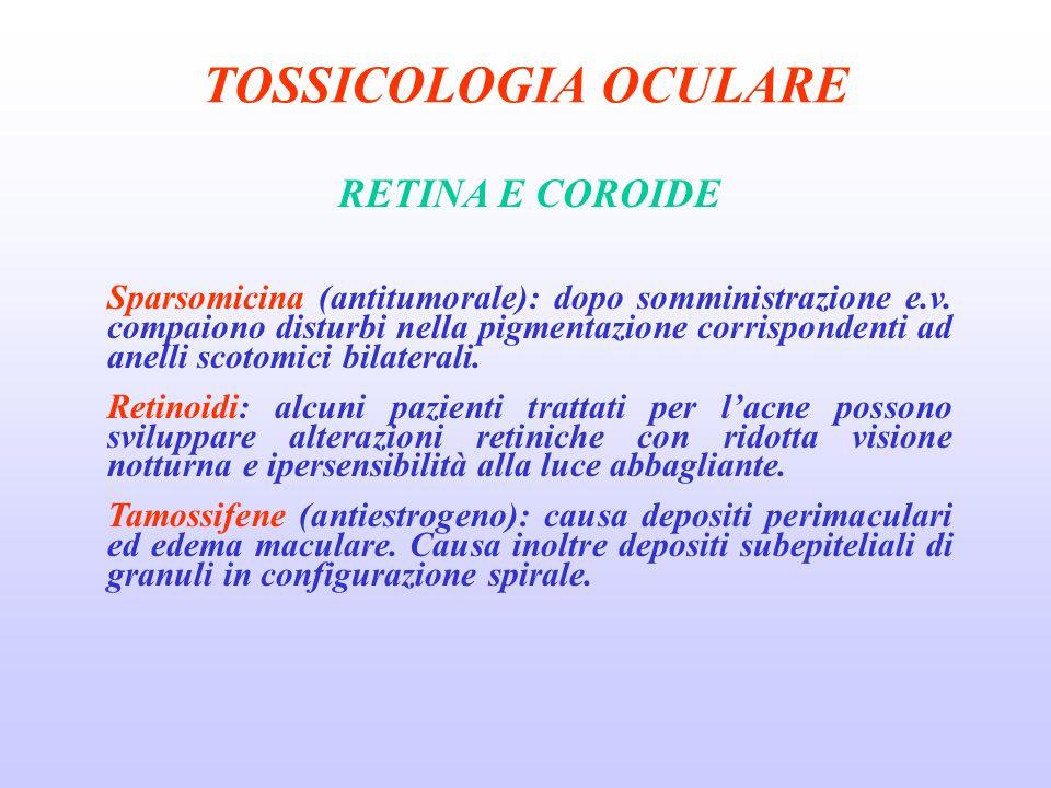 TOSSICOLOGIA OCULARE RETINA E COROIDE Sparsomicina (antitumorale): dopo somministrazione e.v.