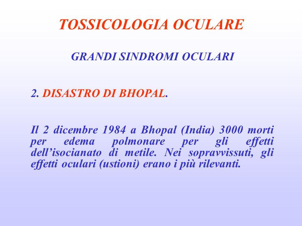TOSSICOLOGIA OCULARE GRANDI SINDROMI OCULARI 2.DISASTRO DI BHOPAL.