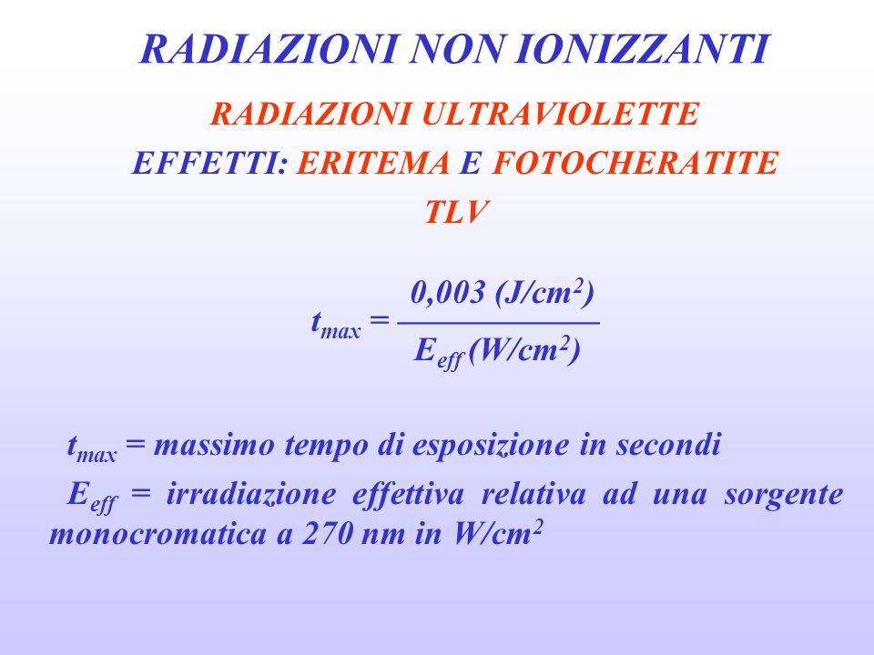 RADIAZIONI NON IONIZZANTI RADIAZIONI ULTRAVIOLETTE EFFETTI: ERITEMA E FOTOCHERATITE TLV 0,003 (J/cm 2 ) t max = E eff (W/cm 2 ) t max = massimo tempo di esposizione in secondi E eff = irradiazione effettiva relativa ad una sorgente monocromatica a 270 nm in W/cm 2