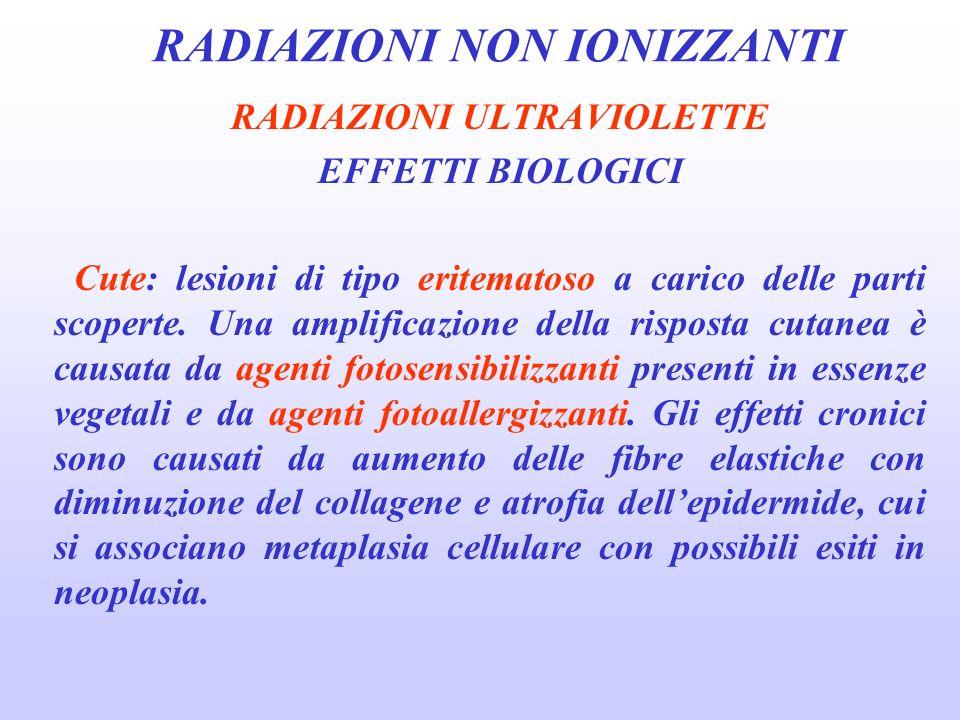 RADIAZIONI NON IONIZZANTI RADIAZIONI ULTRAVIOLETTE EFFETTI BIOLOGICI Cute: lesioni di tipo eritematoso a carico delle parti scoperte.