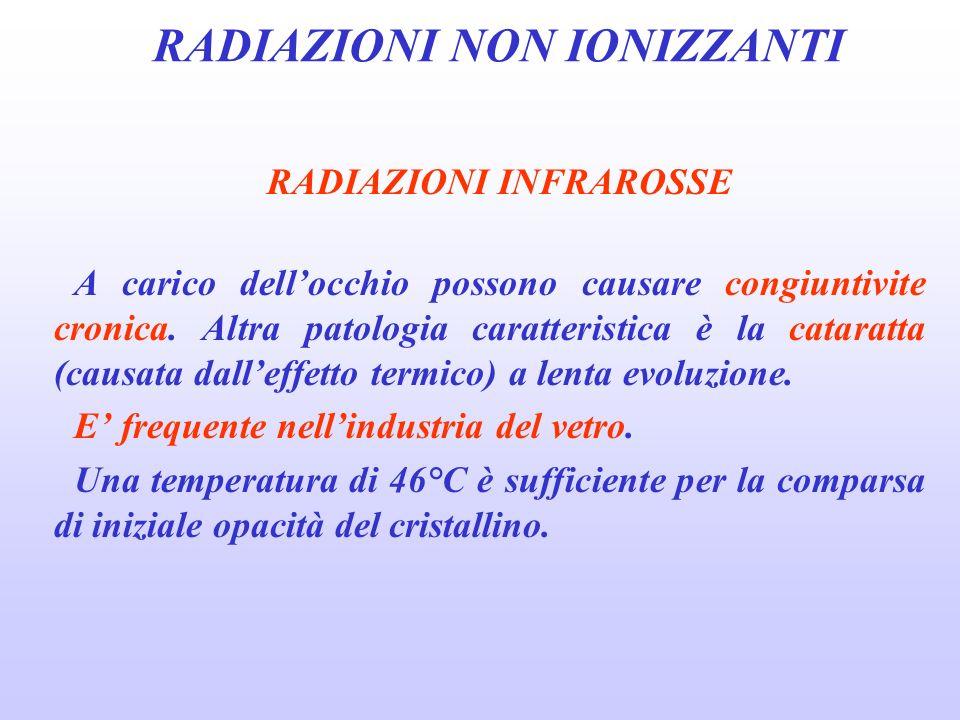 RADIAZIONI NON IONIZZANTI RADIAZIONI INFRAROSSE A carico dellocchio possono causare congiuntivite cronica.