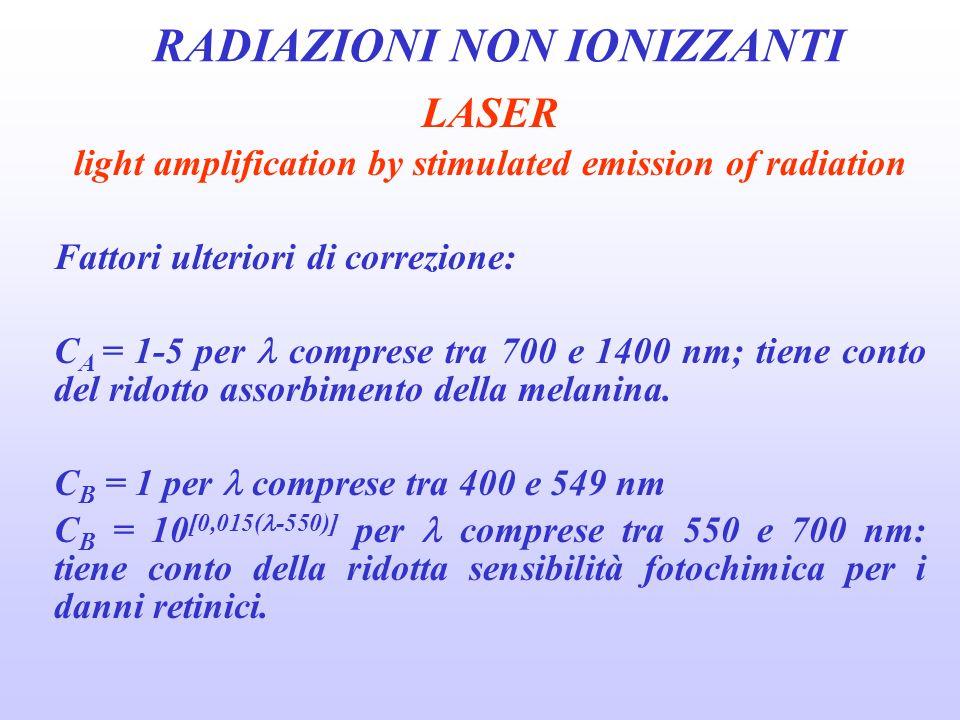 RADIAZIONI NON IONIZZANTI LASER light amplification by stimulated emission of radiation Fattori ulteriori di correzione: C A = 1-5 per comprese tra 700 e 1400 nm; tiene conto del ridotto assorbimento della melanina.