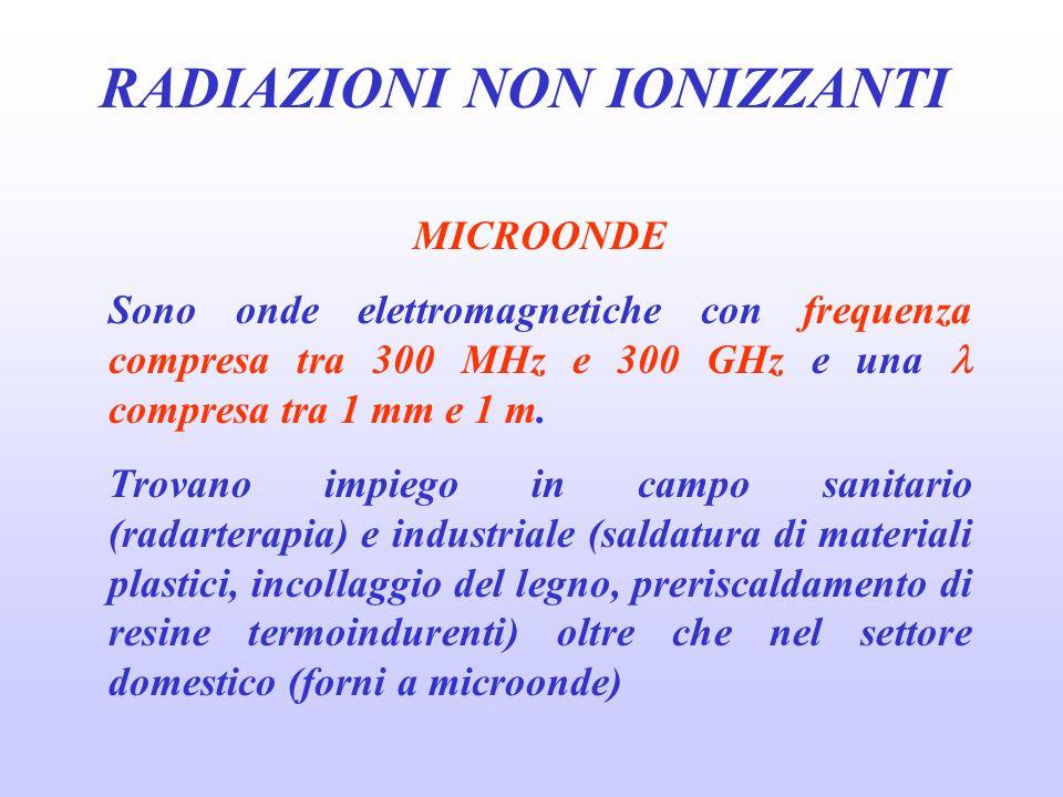 RADIAZIONI NON IONIZZANTI MICROONDE Sono onde elettromagnetiche con frequenza compresa tra 300 MHz e 300 GHz e una compresa tra 1 mm e 1 m.