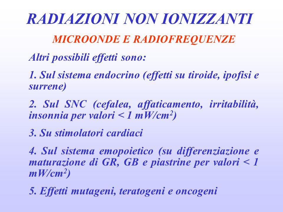 RADIAZIONI NON IONIZZANTI MICROONDE E RADIOFREQUENZE Altri possibili effetti sono: 1.